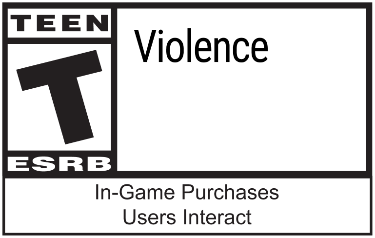 ESRB Teen Rating with Violence, In-Game Purchases and Users Interact qualifiers