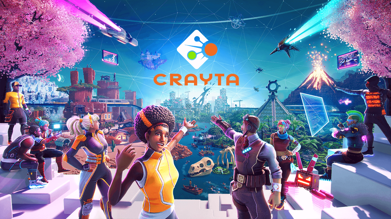 Crayta key art, showing a group of players creating and overlooking a fantastical world